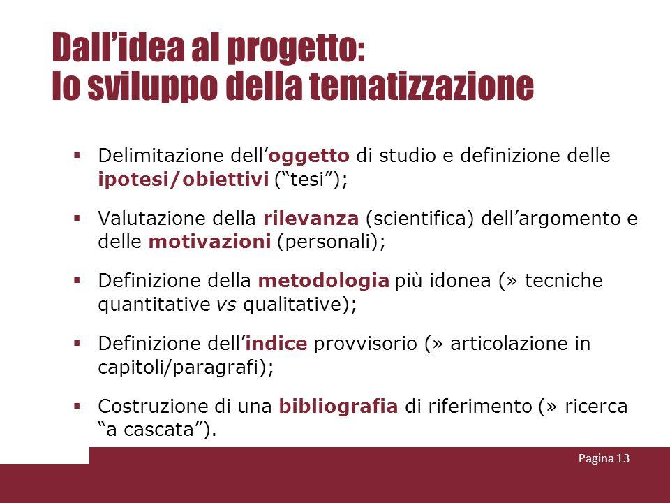 Pagina 13 Dallidea al progetto: lo sviluppo della tematizzazione Delimitazione delloggetto di studio e definizione delle ipotesi/obiettivi (tesi); Val