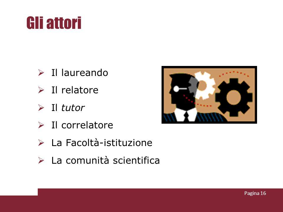Pagina 16 Gli attori Il laureando Il relatore Il tutor Il correlatore La Facoltà-istituzione La comunità scientifica