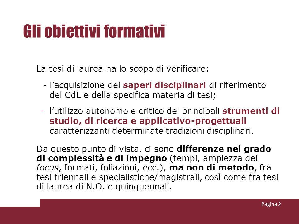 Pagina 2 Gli obiettivi formativi La tesi di laurea ha lo scopo di verificare: - lacquisizione dei saperi disciplinari di riferimento del CdL e della s