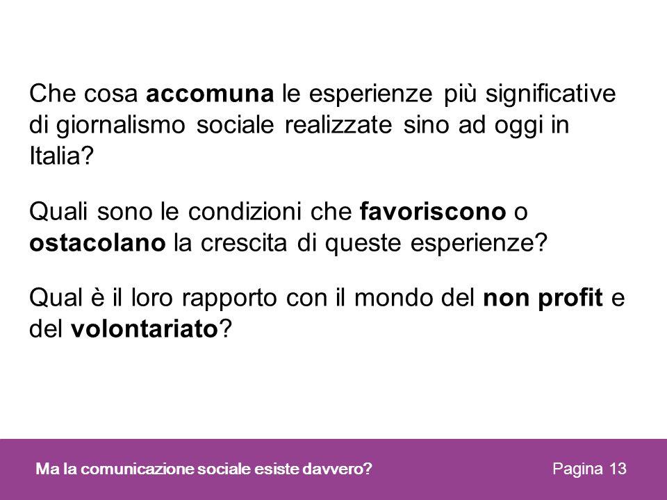 Che cosa accomuna le esperienze più significative di giornalismo sociale realizzate sino ad oggi in Italia? Quali sono le condizioni che favoriscono o
