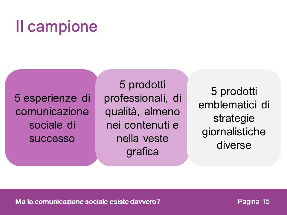 Il campione Ma la comunicazione sociale esiste davvero? Pagina 15 5 esperienze di comunicazione sociale di successo 5 prodotti professionali, di quali