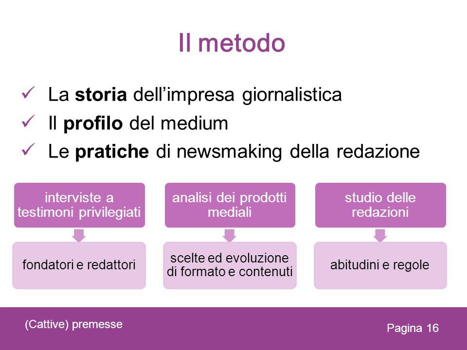 Il metodo La storia dellimpresa giornalistica Il profilo del medium Le pratiche di newsmaking della redazione (Cattive) premesse Pagina 16 interviste