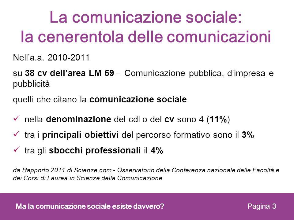 La comunicazione sociale: la cenerentola delle comunicazioni Nella.a. 2010-2011 su 38 cv dellarea LM 59 ̶ Comunicazione pubblica, dimpresa e pubblicit