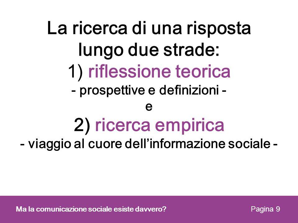 1) La riflessione sui concetti e sulle teorie Quali sono le definizioni ricorrenti di comunicazione sociale nella letteratura italiana.