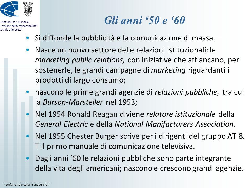 ____________________________ Stefano Scarcella Prandstraller Relazioni istituzionali e Gestione della responsabilità sociale dimpresa Gli anni 50 e 60 Si diffonde la pubblicità e la comunicazione di massa.