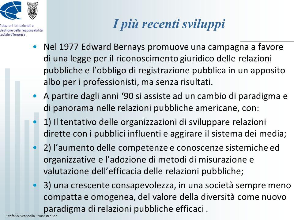 ____________________________ Stefano Scarcella Prandstraller Relazioni istituzionali e Gestione della responsabilità sociale dimpresa I più recenti sviluppi Nel 1977 Edward Bernays promuove una campagna a favore di una legge per il riconoscimento giuridico delle relazioni pubbliche e lobbligo di registrazione pubblica in un apposito albo per i professionisti, ma senza risultati.