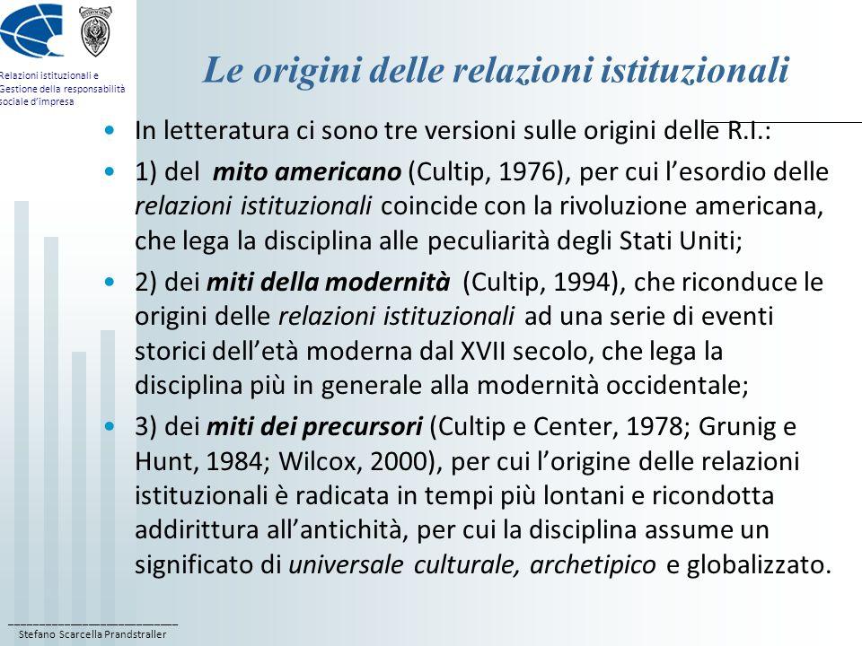 ____________________________ Stefano Scarcella Prandstraller Relazioni istituzionali e Gestione della responsabilità sociale dimpresa Le origini delle