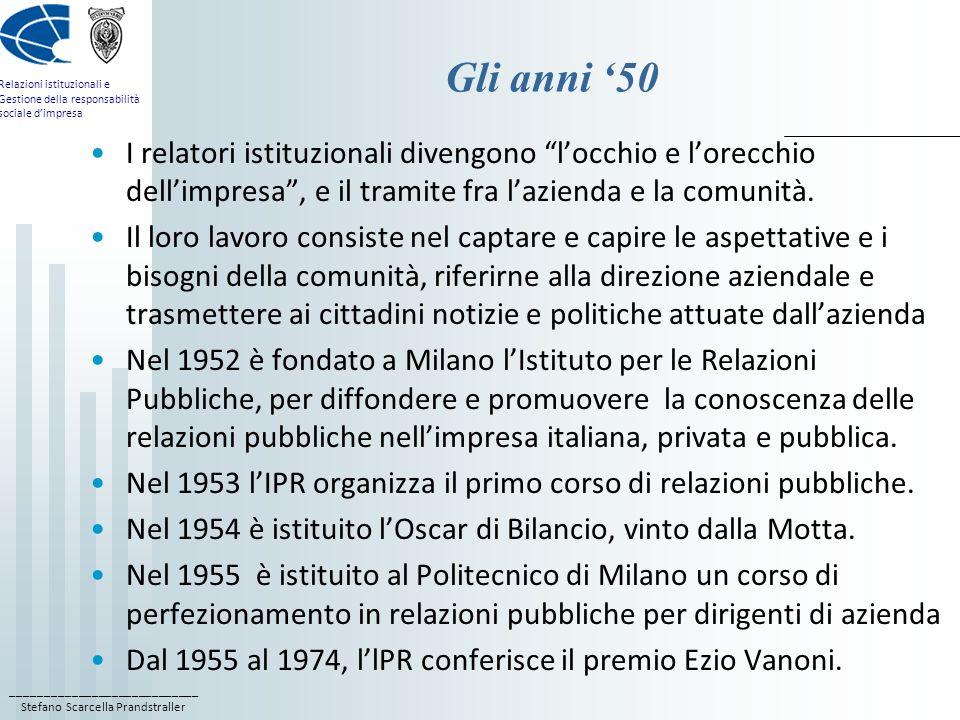 ____________________________ Stefano Scarcella Prandstraller Relazioni istituzionali e Gestione della responsabilità sociale dimpresa Gli anni 50 I re