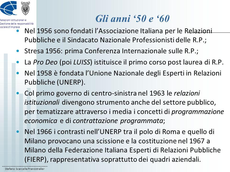 ____________________________ Stefano Scarcella Prandstraller Relazioni istituzionali e Gestione della responsabilità sociale dimpresa Gli anni 50 e 60 Nel 1956 sono fondati lAssociazione Italiana per le Relazioni Pubbliche e il Sindacato Nazionale Professionisti delle R.P.; Stresa 1956: prima Conferenza Internazionale sulle R.P.; La Pro Deo (poi LUISS) istituisce il primo corso post laurea di R.P.