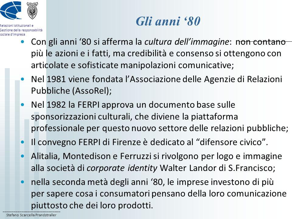 ____________________________ Stefano Scarcella Prandstraller Relazioni istituzionali e Gestione della responsabilità sociale dimpresa Gli anni 80 Con