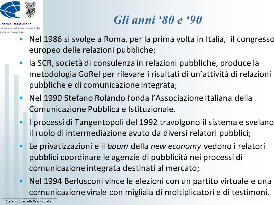 ____________________________ Stefano Scarcella Prandstraller Relazioni istituzionali e Gestione della responsabilità sociale dimpresa Gli anni 80 e 90