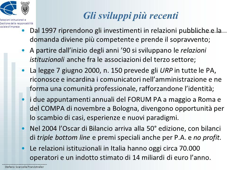 ____________________________ Stefano Scarcella Prandstraller Relazioni istituzionali e Gestione della responsabilità sociale dimpresa Gli sviluppi più recenti Dal 1997 riprendono gli investimenti in relazioni pubbliche e la domanda diviene più competente e prende il sopravvento; A partire dallinizio degli anni 90 si sviluppano le relazioni istituzionali anche fra le associazioni del terzo settore; La legge 7 giugno 2000, n.