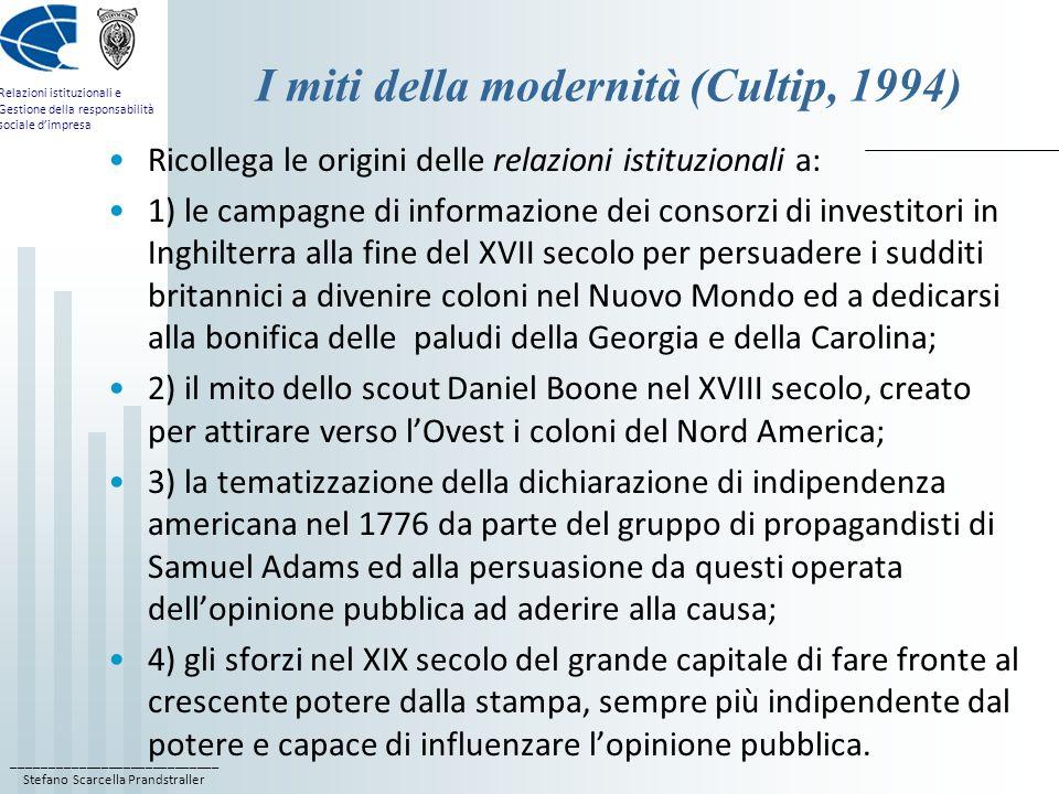 ____________________________ Stefano Scarcella Prandstraller Relazioni istituzionali e Gestione della responsabilità sociale dimpresa I miti della modernità (Cultip, 1994) Sono tutti momenti storici in cui operatori di relazioni pubbliche hanno lavorato in modo consapevole e sistematico per influenzare le opinioni e i comportamenti di altri (Muzi Falconi, 2005); le relazioni istituzionali si saldano non più soltanto al mito americano, ma a un ambito più vasto, che ricomprende lavvento della modernità, della soggettività, dei suoi valori che si pretendono universali, e quindi della società acquisitiva in quanto tale; passano quindi da forma sociale specifica del contesto americano a forma sociale radicata sin dalle sue origini in tutta la moderna civiltà occidentale.