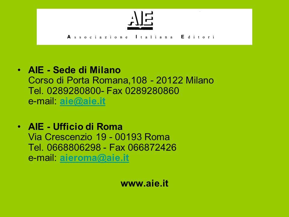 AIE - Sede di Milano Corso di Porta Romana,108 - 20122 Milano Tel.