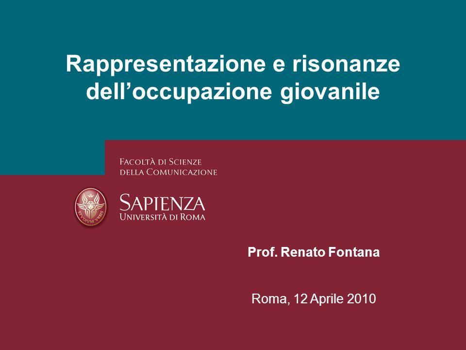 Rappresentazione e risonanze delloccupazione giovanile Prof. Renato Fontana Roma, 12 Aprile 2010