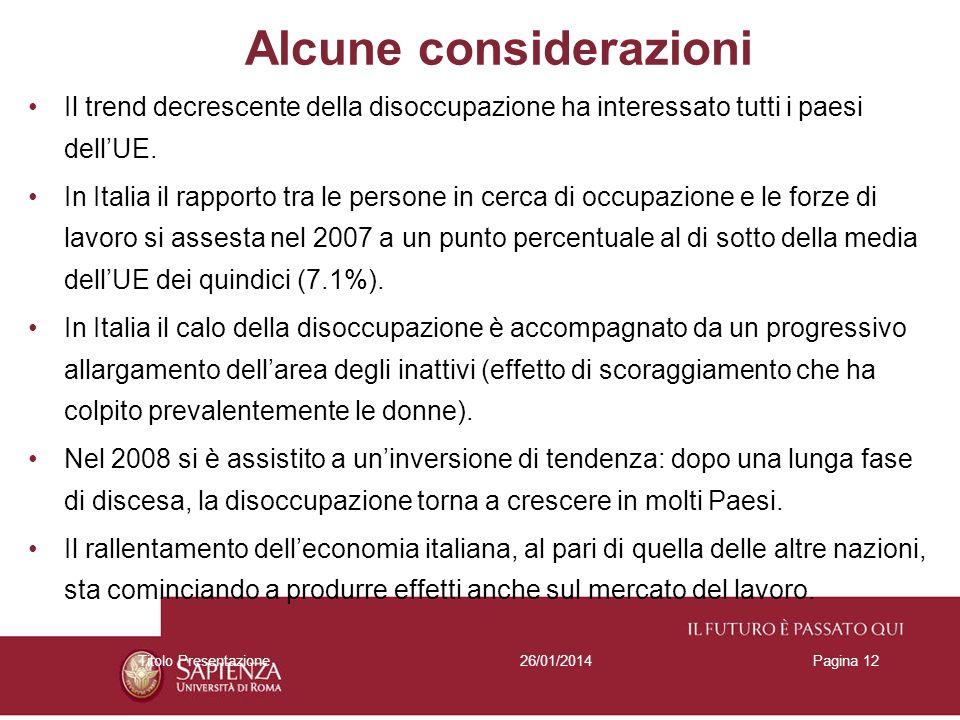 26/01/2014Titolo PresentazionePagina 12 Alcune considerazioni Il trend decrescente della disoccupazione ha interessato tutti i paesi dellUE.