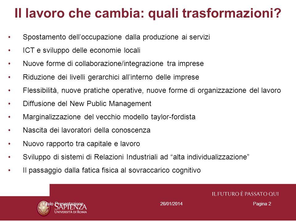 26/01/2014Titolo PresentazionePagina 2 Il lavoro che cambia: quali trasformazioni.