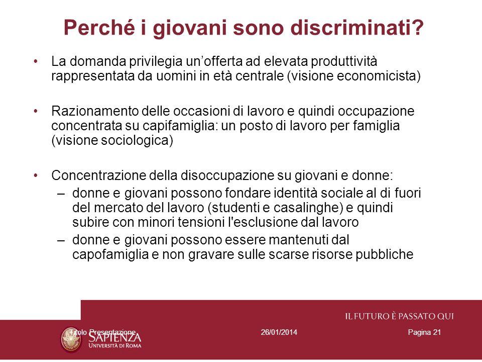 26/01/2014Titolo PresentazionePagina 21 Perché i giovani sono discriminati.
