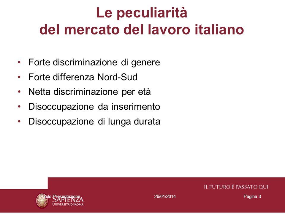 26/01/2014Titolo PresentazionePagina 3 Le peculiarità del mercato del lavoro italiano Forte discriminazione di genere Forte differenza Nord-Sud Netta discriminazione per età Disoccupazione da inserimento Disoccupazione di lunga durata