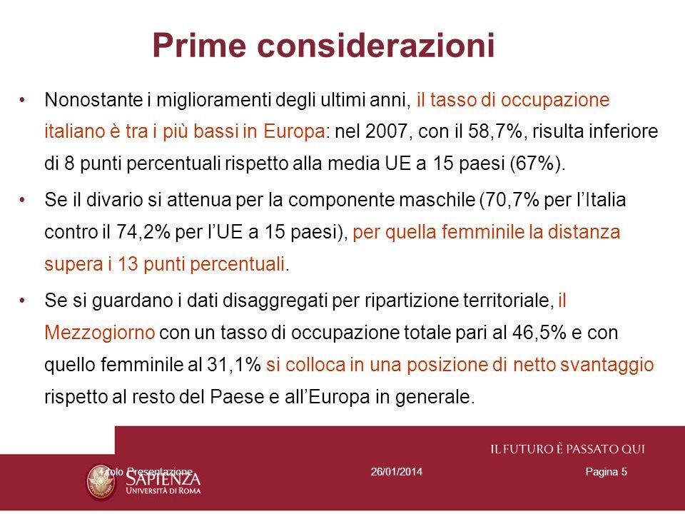 26/01/2014Titolo PresentazionePagina 5 Prime considerazioni Nonostante i miglioramenti degli ultimi anni, il tasso di occupazione italiano è tra i più bassi in Europa: nel 2007, con il 58,7%, risulta inferiore di 8 punti percentuali rispetto alla media UE a 15 paesi (67%).
