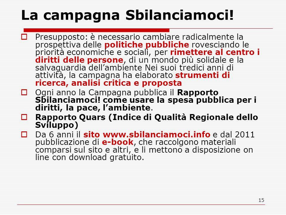 15 La campagna Sbilanciamoci! Presupposto: è necessario cambiare radicalmente la prospettiva delle politiche pubbliche rovesciando le priorità economi