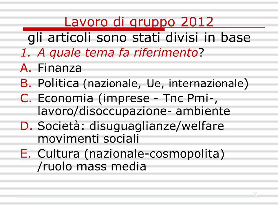 2 Lavoro di gruppo 2012 gli articoli sono stati divisi in base 1.A quale tema fa riferimento? A.Finanza B.Politica (nazionale, Ue, internazionale ) C.