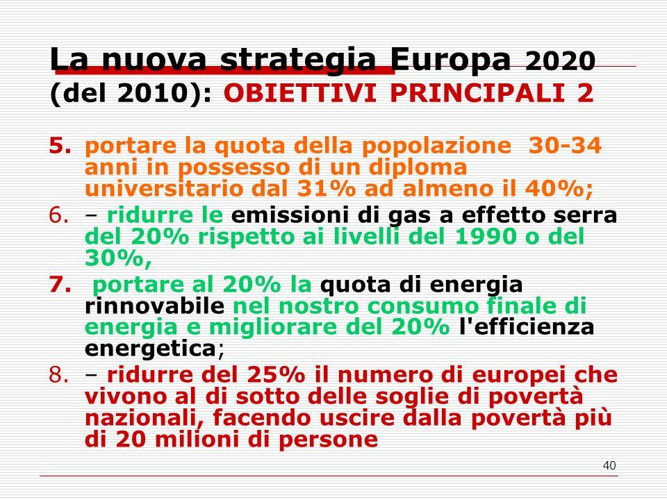 40 La nuova strategia Europa 2020 (del 2010): OBIETTIVI PRINCIPALI 2 5.portare la quota della popolazione 30-34 anni in possesso di un diploma universitario dal 31% ad almeno il 40%; 6.– ridurre le emissioni di gas a effetto serra del 20% rispetto ai livelli del 1990 o del 30%, 7.