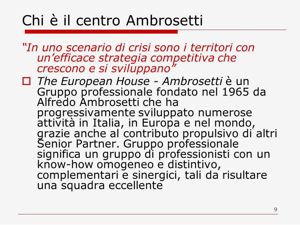 9 Chi è il centro Ambrosetti In uno scenario di crisi sono i territori con unefficace strategia competitiva che crescono e si sviluppano The European