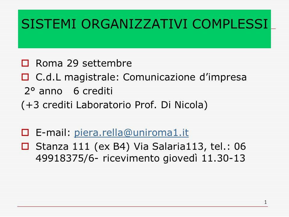 1 SISTEMI ORGANIZZATIVI COMPLESSI Roma 29 settembre C.d.L magistrale: Comunicazione dimpresa 2° anno 6 crediti (+3 crediti Laboratorio Prof.