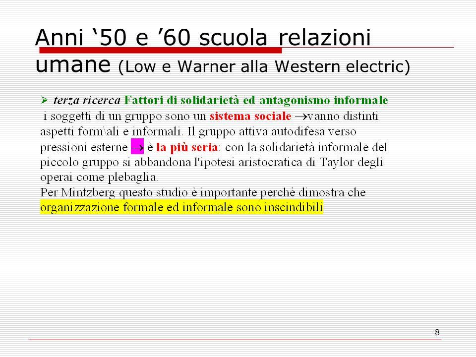 8 Anni 50 e 60 scuola relazioni umane (Low e Warner alla Western electric)
