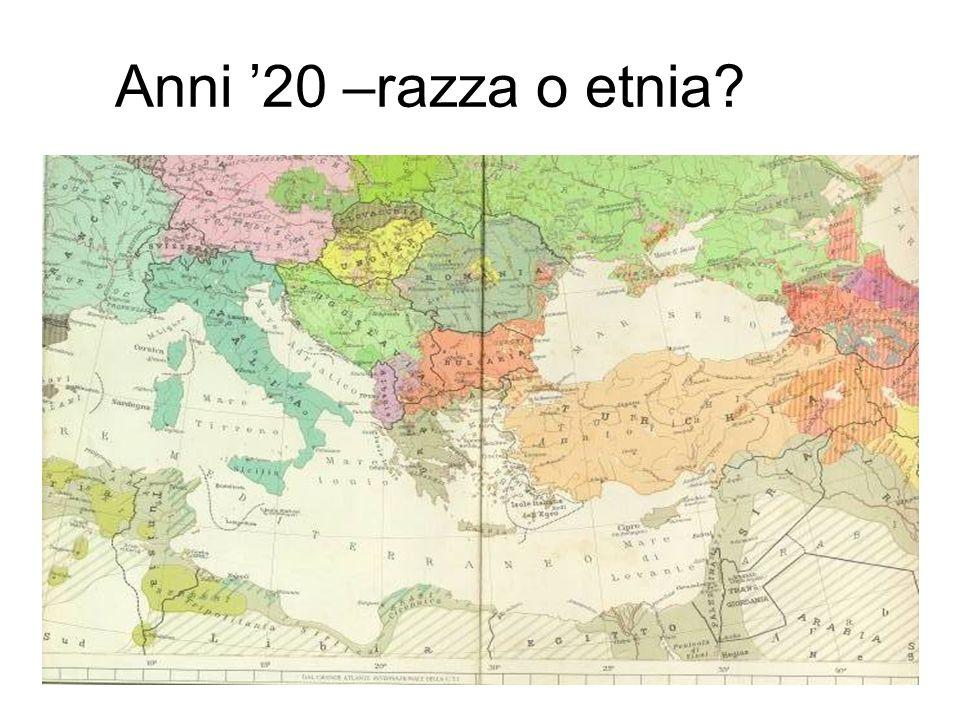 Anni 20 –razza o etnia?