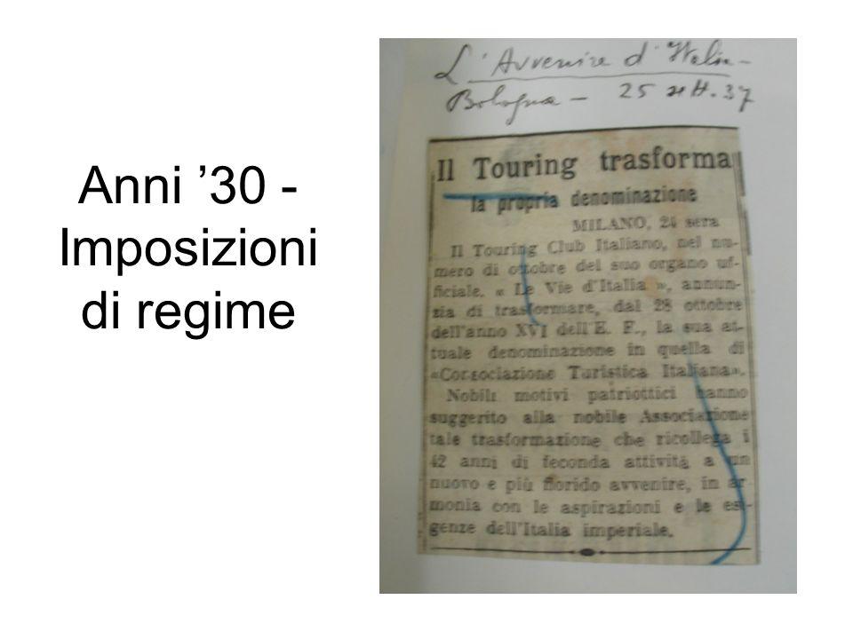 Anni 30 - Imposizioni di regime
