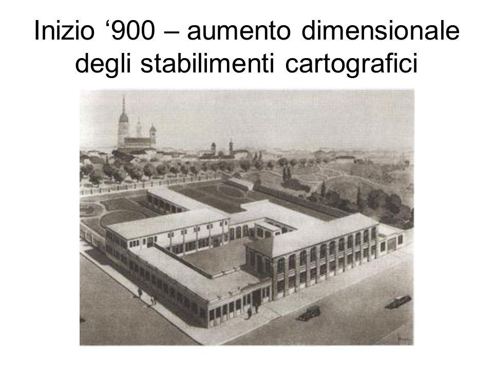 Inizio 900 – aumento dimensionale degli stabilimenti cartografici
