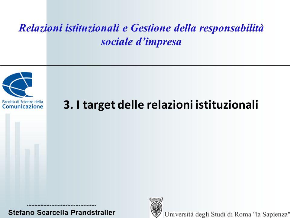 ____________________________ Stefano Scarcella Prandstraller Relazioni istituzionali e Gestione della responsabilità sociale dimpresa La procedura di identificazione degli stakeholder Gli stakeholder rappresentano una molteplicità complessa di portatori di interesse della comunità di riferimento, e la loro individuazione richiede unanalisi del contesto; Il sito Urp degli Urp individua tre macro-categorie: 1) istituzioni pubbliche: enti locali, agenzie, ecc.
