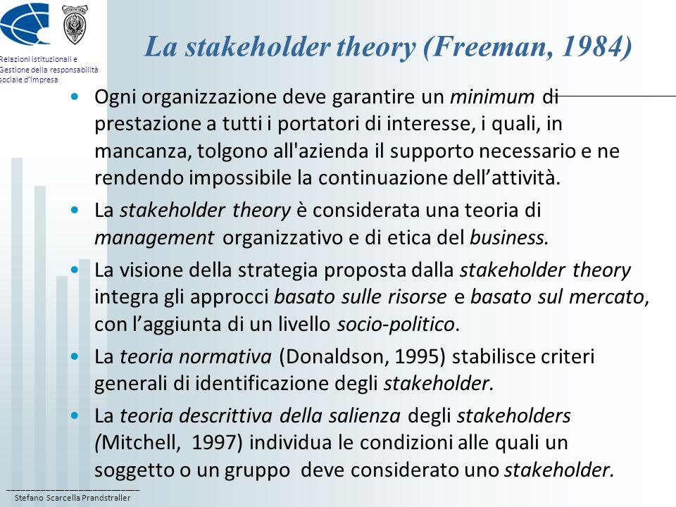 ____________________________ Stefano Scarcella Prandstraller Relazioni istituzionali e Gestione della responsabilità sociale dimpresa La stakeholder t