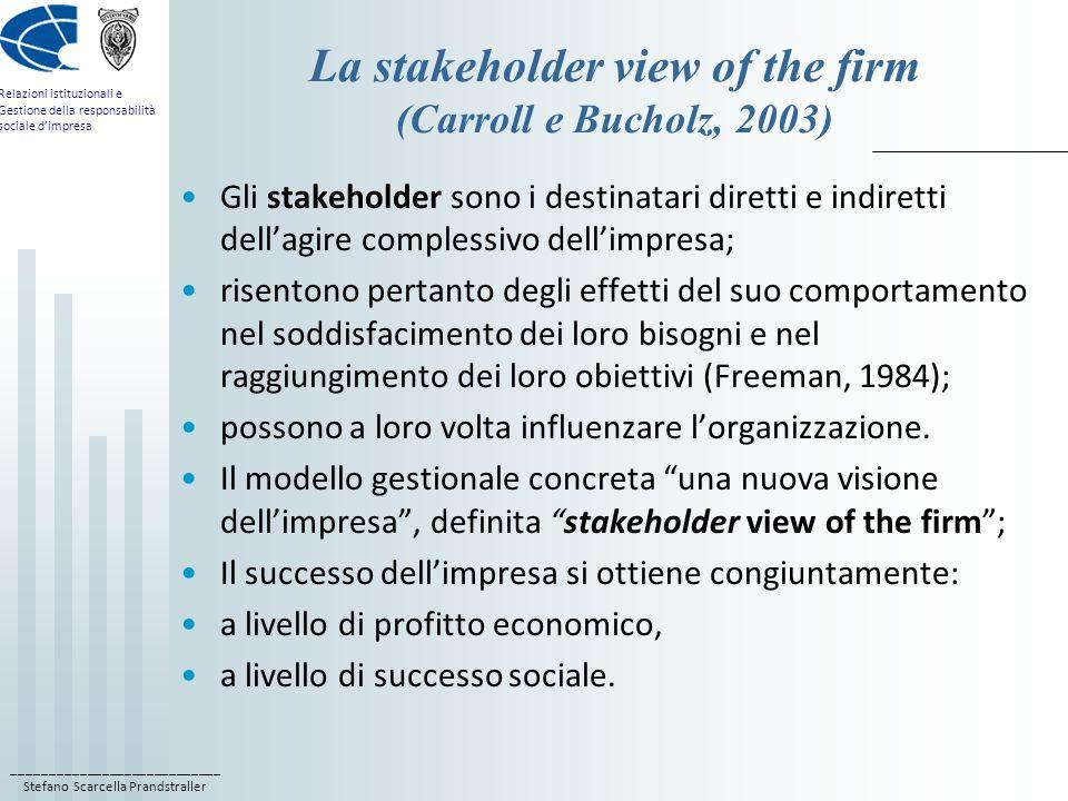 ____________________________ Stefano Scarcella Prandstraller Relazioni istituzionali e Gestione della responsabilità sociale dimpresa La stakeholder v