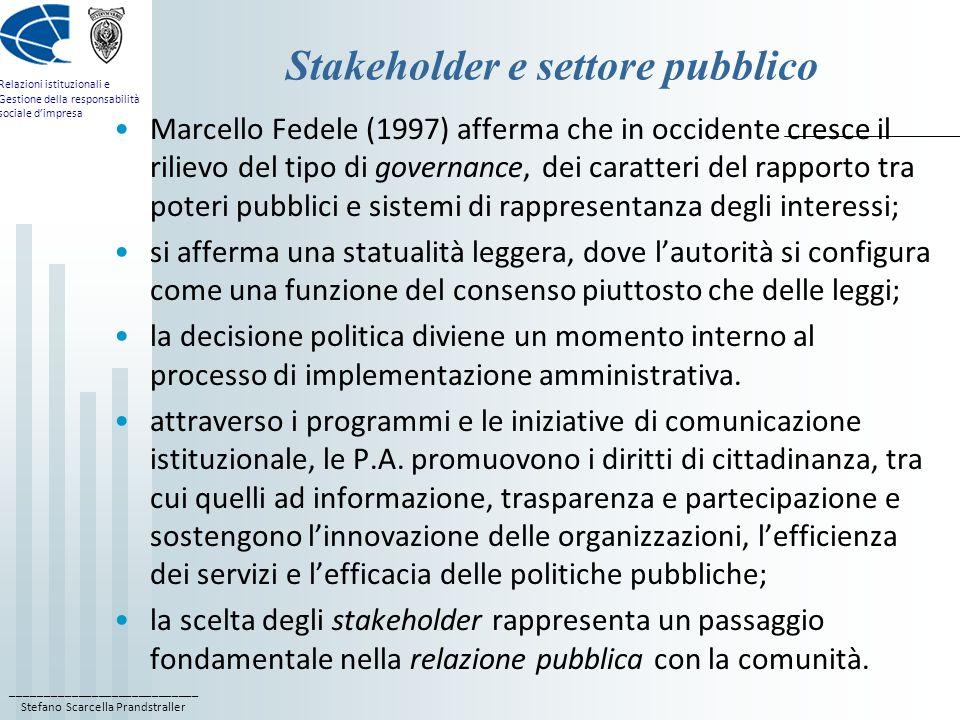 ____________________________ Stefano Scarcella Prandstraller Relazioni istituzionali e Gestione della responsabilità sociale dimpresa Stakeholder e se
