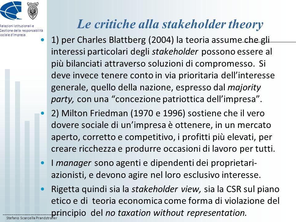 ____________________________ Stefano Scarcella Prandstraller Relazioni istituzionali e Gestione della responsabilità sociale dimpresa Le critiche alla