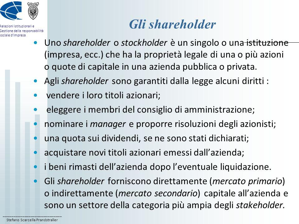 ____________________________ Stefano Scarcella Prandstraller Relazioni istituzionali e Gestione della responsabilità sociale dimpresa Gli shareholder