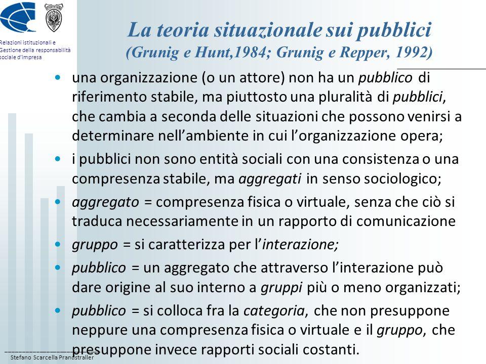 ____________________________ Stefano Scarcella Prandstraller Relazioni istituzionali e Gestione della responsabilità sociale dimpresa Le proprietà del pubblico le persone che formano il pubblico restano sostanzialmente anonime, in quanto rimangono estranee le une alle altre; allinterno di un pubblico non esiste laltro in quanto individuo, come nel gruppo, ma solo il senso della totalità; è dominato dalla relazione di indifferenza verso laltro; non è organizzato, vale a dire non possiede strutture o gerarchie di posizioni o di funzioni; il contatto sociale interno è limitato; ha carattere provvisorio e situazionale, per cui gli individui che compongono il pubblico ne entrano a far parte e ne escono in rapida sequenza e senza complicazioni rilevanti una volta cessato linteresse;