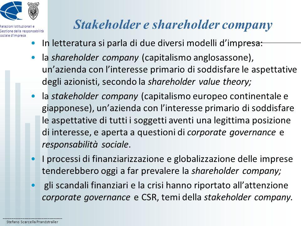 ____________________________ Stefano Scarcella Prandstraller Relazioni istituzionali e Gestione della responsabilità sociale dimpresa Stakeholder e sh