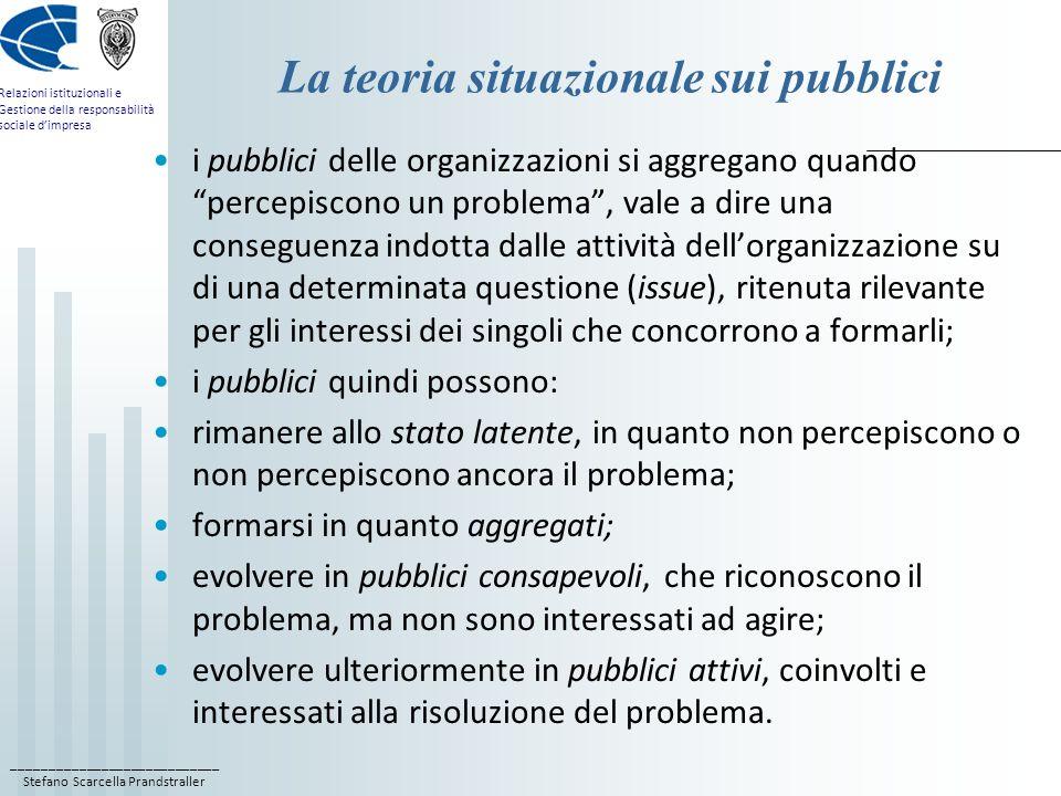 ____________________________ Stefano Scarcella Prandstraller Relazioni istituzionali e Gestione della responsabilità sociale dimpresa Le critiche alla teoria situazionale attribuisce un carattere di passività allaggregazione dei pubblici, che si formerebbero solo in conseguenza di determinati comportamenti organizzativi, riferiti ad una particolare e specifica questione; considera i pubblici come indifferenziati e omologati; La teoria sulla diversità dei pubblici (Duarte, 2004) sostiene invece che i pubblici siano gruppi di persone che interagiscono con le organizzazioni in via continuativa, e non necessariamente su una questione specifica; I pubblici hanno una dimensione culturale e comunitaria; si ricollega al concetto sociologico di diversità, non associata solo a questioni di genere, razza e cultura, ma di interazione organizzazione-ambiente in contesti diversi.