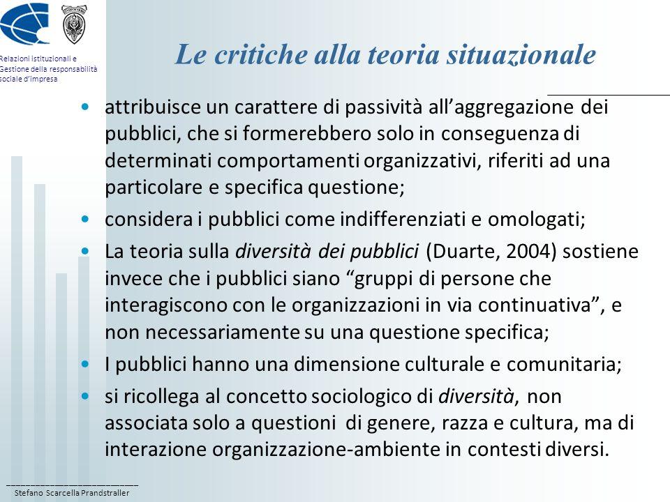 ____________________________ Stefano Scarcella Prandstraller Relazioni istituzionali e Gestione della responsabilità sociale dimpresa I pubblici influenti Il requisito che rende un pubblico influente è la rilevanza delle sue opinioni, atteggiamenti, comportamenti o decisioni in relazione alla realizzazione degli obiettivi perseguiti dallorganizzazione; i pubblici influenti si compongono di soggetti dotati di poteri decisionali rilevanti per il raggiungimento degli obiettivi perseguiti dallorganizzazione o almeno influenti su questi; lorganizzazione attiva relazioni con questi pubblici per indurre in essi opinioni, atteggiamenti, comportamenti o decisioni che consentano di raggiungere i suoi obiettivi con il migliore rapporto tra costi e benefici, e che, nel medesimo tempo permettano ai pubblici di ricavare un valore aggiunto dallaver aiutato o almeno non ostacolato lorganizzazione.