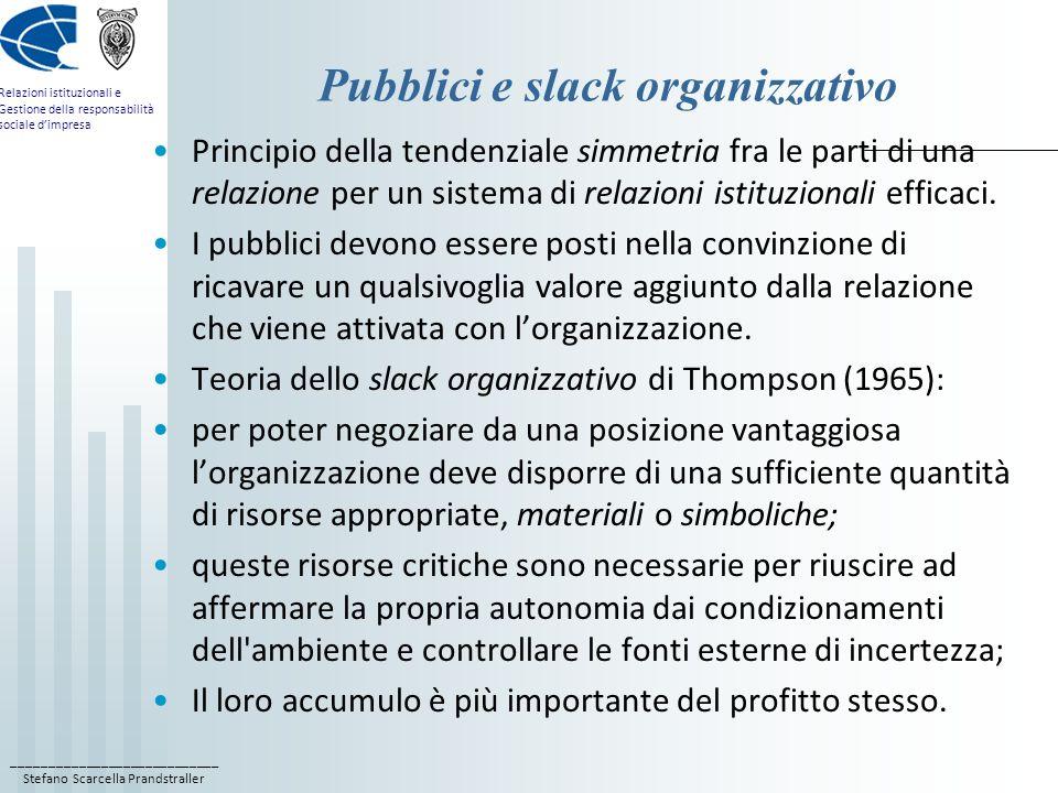 ____________________________ Stefano Scarcella Prandstraller Relazioni istituzionali e Gestione della responsabilità sociale dimpresa Stakeholder e pubblici influenti A) pubblici influenti che si ritengono stakeholder: la relazione da instaurare deve essere a due vie e tendenzialmente simmetrica, e il modello comunicativo diretto, essenziale, argomentativo, di tipo pull; B) pubblici influenti che non si ritengono stakeholder: lorganizzazione deve operare con un modello comunicativo di tipo push, più indiretto e più attraente, per persuaderli poi a diventare stakeholder; C) stakeholder non ritenuti pubblici influenti: lorganizzazione tende a considerarli un disturbo e a tenerli fuori dai flussi di decisione o di comunicazione rilevante, salvo valutare di recuperarli in modo selettivo qualora possano portare un qualche valore aggiunto.