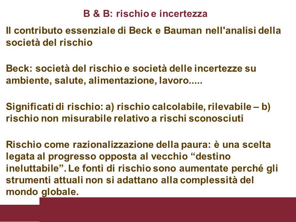 Il contributo essenziale di Beck e Bauman nell'analisi della società del rischio Beck: società del rischio e società delle incertezze su ambiente, sal