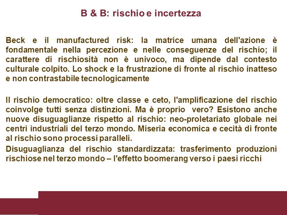 Beck e il manufactured risk: la matrice umana dell'azione è fondamentale nella percezione e nelle conseguenze del rischio; il carattere di rischiosità