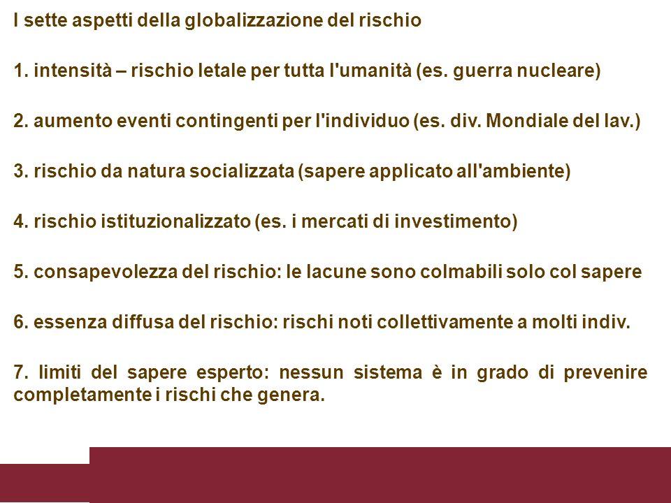 I sette aspetti della globalizzazione del rischio 1. intensità – rischio letale per tutta l'umanità (es. guerra nucleare) 2. aumento eventi contingent