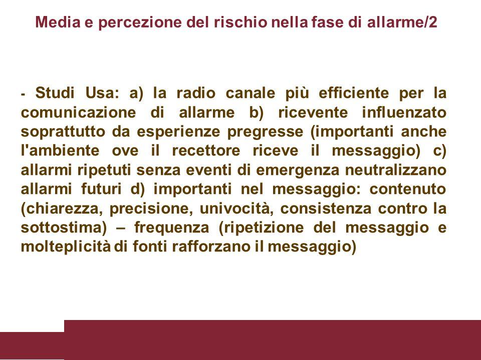 - Studi Usa: a) la radio canale più efficiente per la comunicazione di allarme b) ricevente influenzato soprattutto da esperienze pregresse (important