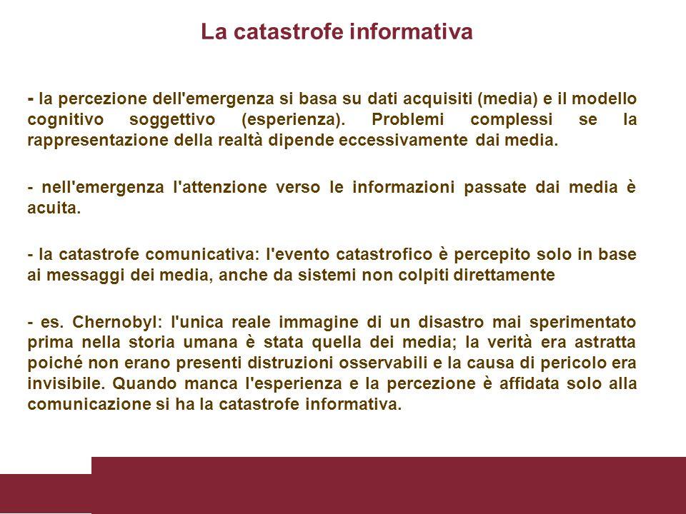 - la percezione dell'emergenza si basa su dati acquisiti (media) e il modello cognitivo soggettivo (esperienza). Problemi complessi se la rappresentaz