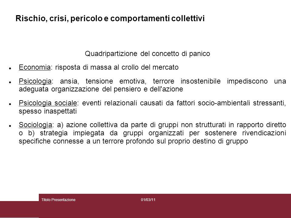 01/03/11Titolo Presentazione Rischio, crisi, pericolo e comportamenti collettivi Quadripartizione del concetto di panico Economia: risposta di massa a